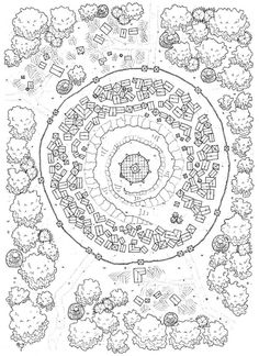 KosmicDungeon walled city town forest map cartography | Create your own roleplaying game material w/ RPG Bard: www.rpgbard.com | Writing inspiration for Dungeons and Dragons DND D&D Pathfinder PFRPG Warhammer 40k Star Wars Shadowrun Call of Cthulhu Lord of the Rings LoTR + d20 fantasy science fiction scifi horror design | Not Trusty Sword art: click artwork for source