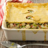 Deep-Dish Chicken Pot Pie Recipe - Made this tonight with fresh herbs and added a little cornstarch for thickening.  Perfect for a cold day!