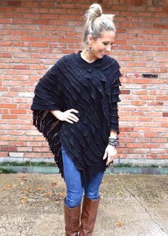 63 - Great for Football Games or Evening Out!!!! Soft Black Tiered Poncho, Edges Finished with Delicate Copper Metallic Thread Border!!!