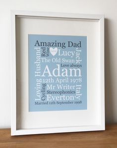 Clare Cosens | personalised word prints, personalised print, word art, typographic art Gifts