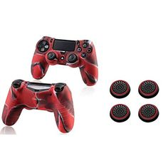 Insten 2 Pcs Pythons Protective Case Camouflage Color  2 Pair  4 Pcs Silicone Analog Thumb Grip Stick Cover BlackRed For Sony Playstation 4 Ps4 Controller >>> Want to know more, click on the image.