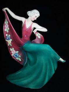Antique German Art Deco Katzhutte Godscheider Lady Dancer Porcelain Figurine | eBay