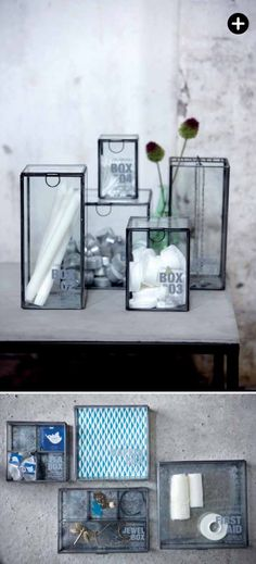 Gorgeous glass boxes. They would look very pretty in the bathroom, or anywhere else.