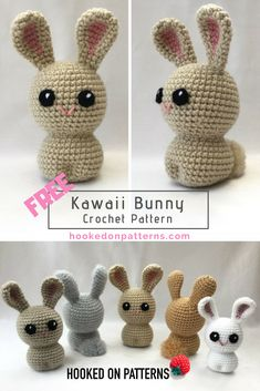 Free Bunny crochet pattern - Create some cute kawaii style bunnies with this free pattern. #bunny #bunnies #rabbit #cute #Crochet #freecrochet #crochetblogger #crochetblog #bloggers #Amigurumi #freecrochetpatterns #HOP #crocheter #lovecrochet #yarn #etsy #Ravelry #loveyarn #kawaii #Crocheting #Crocheted