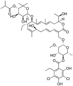 Fidaxomicin(OPT-80; PAR-101) is a new class of narrow spectrum macrocyclic antibiotic drug; also the selective eradication of pathogenic Clostridium difficile with minimal disruption to the multiple species of bacteria that make up the normal, healthy intestinal flora.