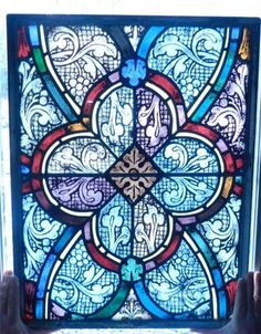 Antique c1900 Gothic Art Nouveau Stained Glass Church Window Multi Facet NR | eBay