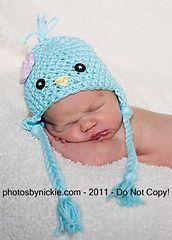Ravelry: Sweet Little Bluebird Earflap Beanie Photo Prop Hat pattern by Buttercup Baby