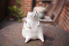 Rabbit Sculpture, Garden Sculpture, Flower Vases, Flower Pots, Fox And Rabbit, Zoo Keeper, Cat Flowers, Fat Cats, Pottery Mugs