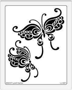 Quietfire Design :: Dreamweaver Stencils :: Stencils :: Butterfly Duo Stencil (LJ)