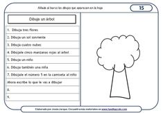 Sheets understanding of written instructions, drawing of a tree Spanish Classroom Activities, Teaching Spanish, Teaching Resources, Comprehension Strategies, Reading Comprehension, Speech Language Therapy, Speech And Language, Familia Y Cole, Enrichment Programs