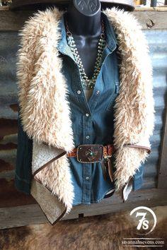 The Torrington – Drape sherpa vest by Savannah Sevens Western Chic - #CowgirlChic