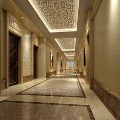 exquisite corridor with smart ceiling model max 1 Lobby Interior, Mansion Interior, Luxury Interior Design, Bathroom Interior Design, House Ceiling Design, House Design, Foyer Flooring, Hotel Corridor, Flur Design