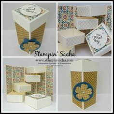 Stampin' Sacha - Stampin' Up! - Annual Catalogue 2016-2017 - Best Birds - Moroccan DSP - Very Vanilla - Early Espresso - Dapper Denim - Delightful Dijon - Stepper Box (without Origami) - #stampin_sacha - #stampinup