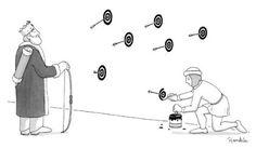 Postrationalization visualized. Bullseyes, New Yorker Cartoon by Charlie Hankin, http://charliehankin.com/