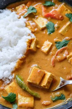 This Instant Pot butter chicken is full of healthy veggies like bell peppers, carrots, and onion. It uses tofu instead of chicken so it's suitable... The post Instant Pot Butter Chicken – Vegetarian & Vegan appeared first on Instant Veg. Vegan Dinner Recipes, Veg Recipes, Curry Recipes, Vegan Dinners, Plant Based Recipes, Vegan Curry, Vegan Vegetarian, Vegetarian Recipes, Instant Pot Curry Recipe
