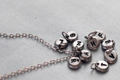 INITIAL  MONGRAMMED Pendant with Chain /  Typewriter Font /  a b c d e f g h i j k l m n o p q r s t u v w x y z