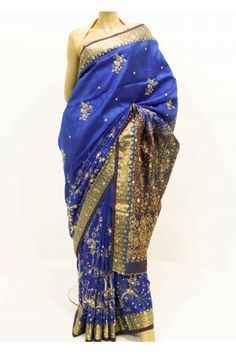 Pure Silk Saree - blue and gold