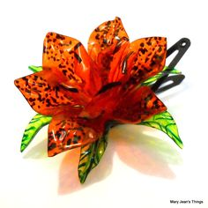 Upcycled Orange Fantasy Flower HAIR CLIP made of Plastic Water Bottles OOAK
