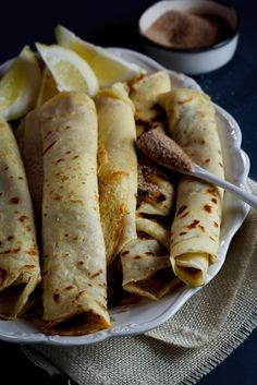 Pancakes (crêpes) with cinnamon sugar.  A South-African favourite. #recipe #food < also great with ice-cream >