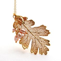 Real Gold Leaf Necklace Freshwater  Pink Pearl by JewelryByMagda, $63.00