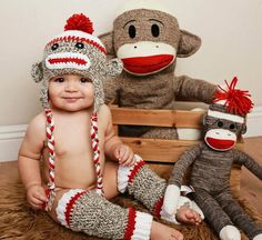 Check out this super cute listing... sock monkey hat and baby legs