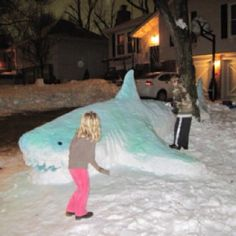 """Bruce"" and my kids made the news!  21 foot snow shark. (wow! This is awesome!)"