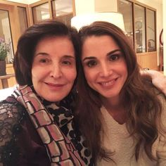 Queen Rania with her mother on Mother's Day, March 21, 2016