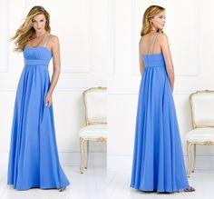 2015 Chiffon Blue Bridesmaid Dresses Sleeveless Backless Draped Long Summer Bridesmaid Dresses Summer Style Cheap Dresses