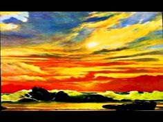 How to paint a sunset   Acrylic landscape painting tutorial - YouTube