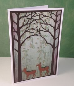 Memory Box - Valley Deer Trio & Memory Box - Medium Forest Archway, Imagination Crafts Sparkle Medium Paste - Sage Green, Imagination Crafts Stencil - Panel Falling Leaves,  Imagination Crafts - Panel Glossy Patterned Card - Shutters Pepper