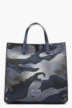 VALENTINO BLUE & black leather-paneled CAMOUflage TOTE