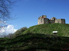 Stafford Castle viewed from the steeply sloping main path - The site commonly known as Stafford Castle was once home to a substantial Norman fort of motte and bailey design. Originally constructed around the 1080s by Robert de Toeni (de Tosny) in response to the unrest of the local people. The site became the seat of the Stafford family.