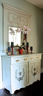 diy painted french bee server from a mismatched buffet, chalk paint, painted furniture, Finished server married to our mirror