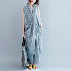 Sleeveless Cross Summer long dresses Causal Dresses Plus Size Oversize Women Clothes Q6369