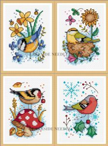 Seasonal Birds - Set of 4 cross stitch kits