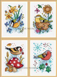 Seasonal Birds - Set of 4 cross stitch kits