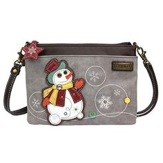 "PURSE~SHOULDER BAG~Navy~/""Snowman/"" Theme~Lined~Zipper Closure~NEW"