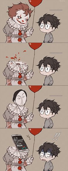 """Read A/N Part 5 Funny Shit from the story """"Love me"""" Pennywise X Reader [Completed] by (✨i wanna die✨) with reads. Funny Horror, Horror Art, Cute Comics, Funny Comics, Scary Movies, Horror Movies, Movie Memes, Funny Memes, Bd Art"""