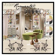 """ModernRomantic"" by tiffanyb497 on Polyvore featuring interior, interiors, interior design, home, home decor, interior decorating, Osborne & Little, Eichholtz, Arteriors and Nine West"
