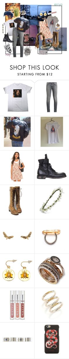"""""""heaven + hell"""" by thewhoreofcookies ❤ liked on Polyvore featuring Acne Studios, Ann Demeulemeester, Emily Rose Flower Crowns, De Buman, Lucky Brand, Cast of Vices, Maison Margiela, Gucci, Casetify and cute"""