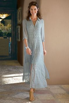 In a filmy georgette, our Ibiza Dress & Slip features a matching belt (not shown) and shell-button closures.