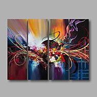 Ready to Hang Stretched Hand-Painted Oil Painting Four Panels Canvas Wall Art Modern Red Blue Purple Abstract – AUD $ 179.52