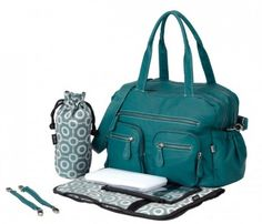OiOi:Turquoise Faux Buffalo Carry All Diaper Bag (6556) My diaper bag<3
