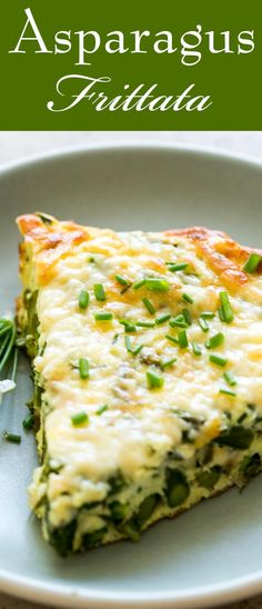 Quick and EASY Asparagus Frittata! Perfect for spring. Eggs, Gruyere or Swiss cheese, onion, and asparagus.