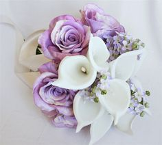 Dream Bouquet made with Off White Callas, Sterling Roses and Lavender Hydrangeas and your choice of fillers. Lilac Bouquet, Lilac Roses, Sterling Roses, Coffee Filter Roses, Wedding Colors, Wedding Flowers, Hydrangeas, Off White, Lavender