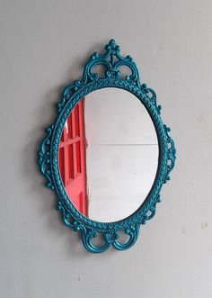 Ornate Oval Mirror in Vintage Metal Frame  by SecretWindowMirrors, $69.00