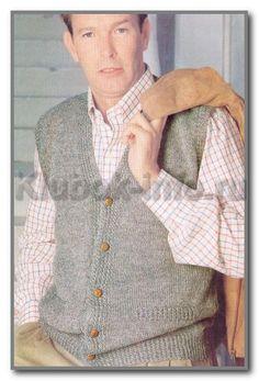 Вязание спицами. Жилет с прорезными карманами и с застежкой на пуговицы. Размер 50