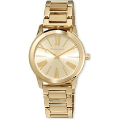 Michael Michael Kors 38mm Hartman Bracelet Watch ($123) ❤ liked on Polyvore featuring jewelry, watches, gold, quartz movement watches, logo watches, stainless steel jewellery, stainless steel watches and bracelet watch