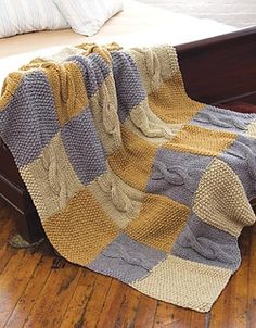 Blanket Ravelry: Cables in Squares Throw pattern by Cathy Payson Crochet Squares Afghan, Crochet Blanket Patterns, Knitting Patterns Free, Knitted Afghans, Knitted Blankets, Knitted Baby, Knitted Dolls, Baby Blankets, Patchwork Blanket