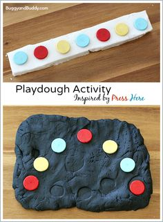 Play Dough Activity Inspired by the Children's Book, Press Here by Herve Tullet: Fun sensory activity for toddlers and preschoolers and great way to encourage creativity, sensory play, and patterning practice! Playdough Activities, Sensory Activities Toddlers, Art Therapy Activities, Hands On Activities, Sensory Play, Educational Activities, Preschool Activities, Prek Literacy, Preschool Books